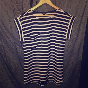 Ann Taylor Nautical Navy and White Striped Tunic